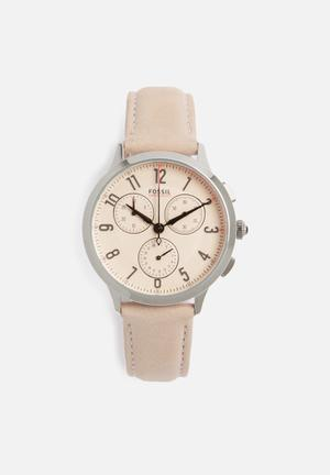 Fossil Abilene Watches Pink & Silver