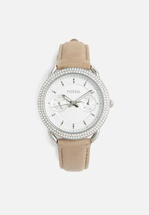 Fossil Tailor Watches Tan & Silver
