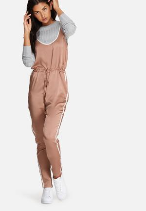 Missguided Satin Sports Striped Strappy Jumpsuit Rose Gold