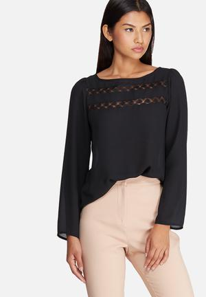 Dailyfriday Lace Inset Blouse Black