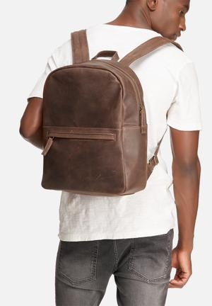 FSP Collection Leather Backpack Bags & Wallets Brown