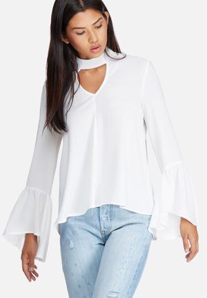 Bell sleeve keyhole blouse