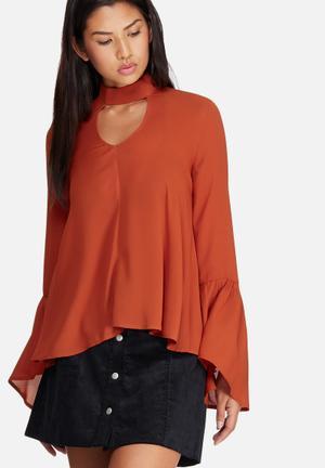 Dailyfriday Bell Sleeve Keyhole Blouse Burnt Orange