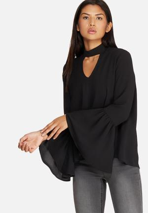 Dailyfriday Bell Sleeve Keyhole Blouse Black