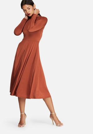 Dailyfriday Slinky Tie Back Dress Occasion Burnt Orange