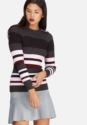 Dailyfriday Striped Roll Neck Ribbed Skinny Knit Knitwear Black, Pink, Maroon & White