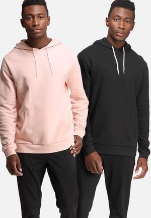 Basicthread 2 Pack Pullover Hoodie Hoodies & Sweatshirts Black & Pink