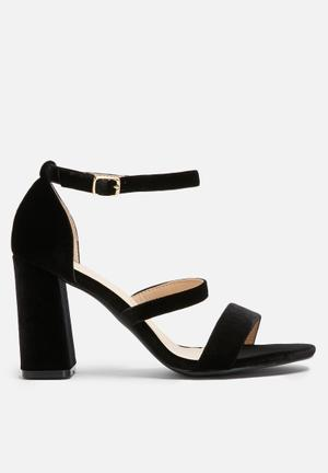 Dailyfriday Velvet Block Heel Black