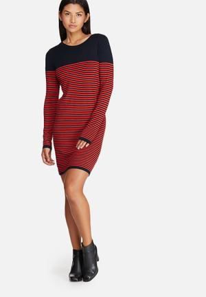 ONLY Malaga Stripe Dress Casual Navy & Red