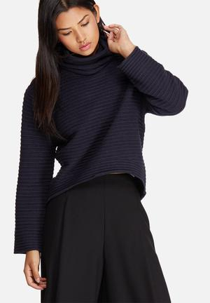 ONLY Texas Roll Neck Sweater Knitwear Navy