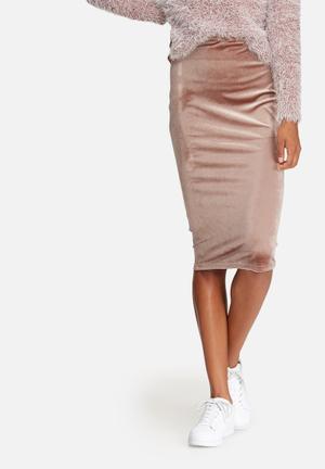 Dailyfriday Velvet Pencil Skirt Pink