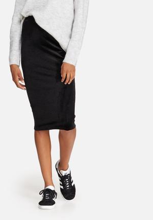 Dailyfriday Velvet Pencil Skirt Black