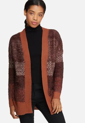 ONLY Jaddah Long Cardigan Knitwear Burnt Orange, Maroon & White