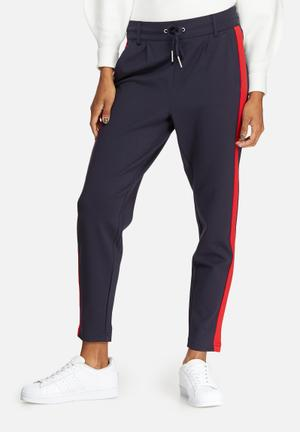 ONLY Poptrash Easy Tux Sport Pants Trousers Navy & Red