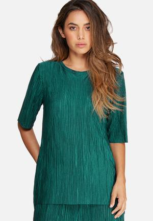 Dailyfriday Plissé Dip Back Top Blouses Green