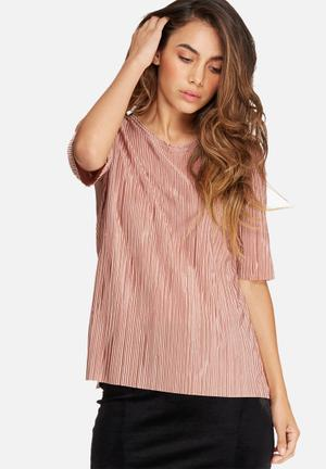 Dailyfriday Plissé Dip Back Top Blouses Pink