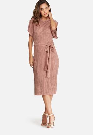 Plissé midi dress with tie belt
