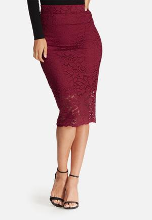 Dailyfriday Scalloped Lace Pencil Skirt Burgundy