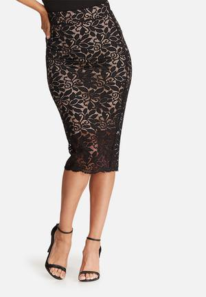 Dailyfriday Scalloped Lace Pencil Skirt Black