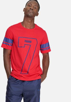PUMA Athletic Number Tee T-Shirts Red & Blue
