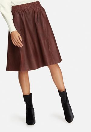 Selected Femme Salta Leather Skirt Brown
