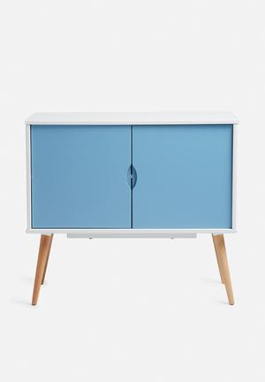 Eleven Past Blue Sideboard 2 Cupboard Wood