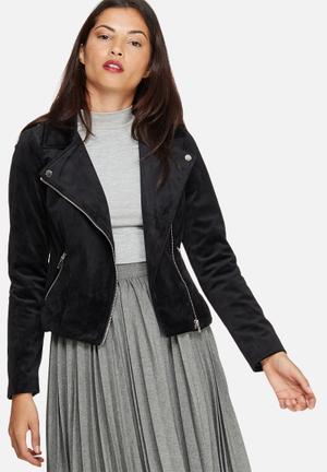 Vero Moda Velvet Biker Jacket Black