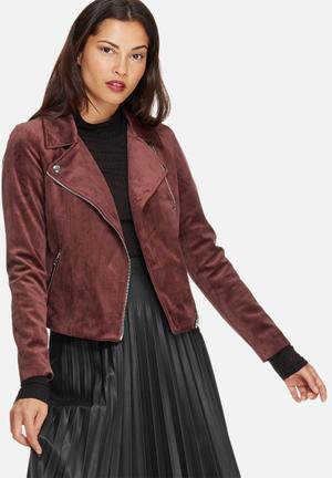 Vero Moda Velvet Biker Jacket Burgundy