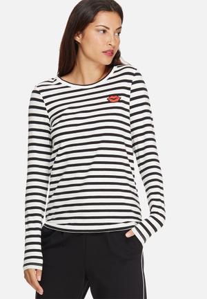 Vero Moda Annie Top T-Shirts, Vests & Camis Black & White