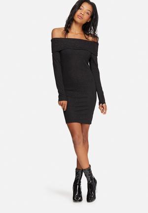 Jacqueline De Yong Jenn Off-shoulder Glitter Dress Occasion Black