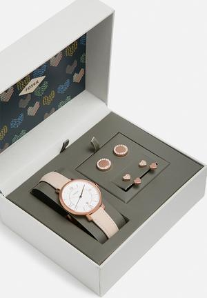 Fossil Jacqueline Box Set Watches Blush Pink & White