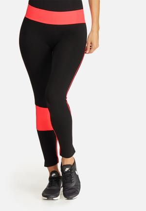 Southbeach  Seamless Leggings T-Shirts Black & Neon Pink