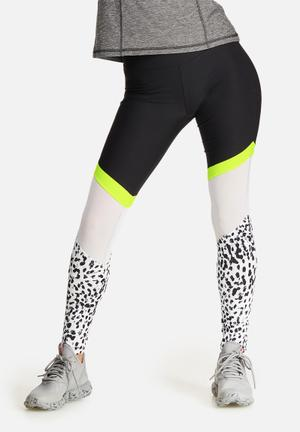 Southbeach  Leopard Neon Mesh Legging Bottoms Black, White & Neon Yellow