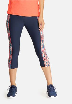 Southbeach  Splash Panel Leggings Bottoms Navy & Coral