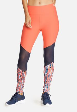 Southbeach  Splash Mesh Insert Leggings Bottoms Neon Coral, Navy & White