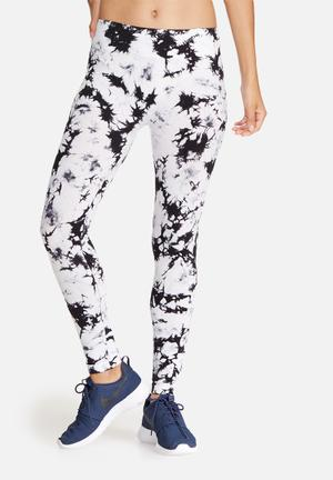 Southbeach  Seamless Active Tie Dye Leggings Bottoms White & Black