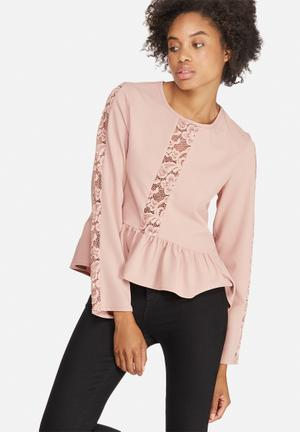 Dailyfriday Peplum Lace Inset Blouse Dusty Pink