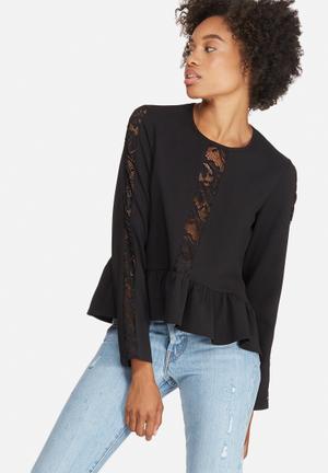 Dailyfriday Peplum Lace Inset Blouse Black