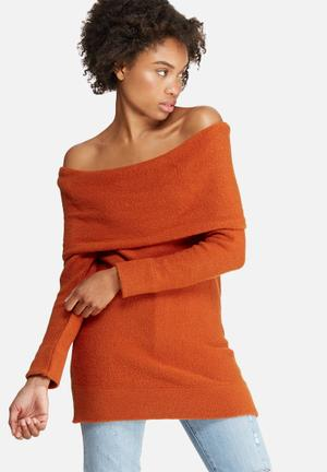 Dailyfriday Off Shoulder Tunic Knitwear Burnt Orange