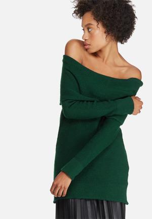 Dailyfriday Off Shoulder Tunic Knitwear Green