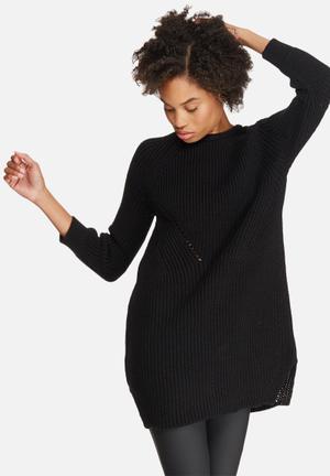 Dailyfriday Stitch Detail Knitwear Dress Casual Black