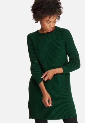 Dailyfriday Stitch Detail Knitwear Dress Casual Green