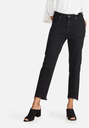 Dailyfriday Panelled Raw Hem Denim Jeans Black