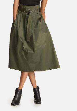 Belted high waisted midi skirt