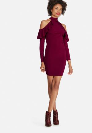 Dailyfriday Cold Shoulder Frill Bodycon Dress Occasion Burgundy