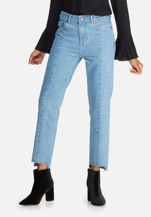 Dailyfriday Panelled Raw Hem Denim Jeans Blue