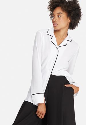 Dailyfriday Tipped Pyjama Shirt White