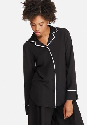 Dailyfriday Tipped Pyjama Shirt Black