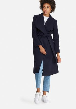 Dailyfriday Melton Wrap Coat Navy