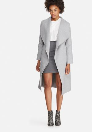 Dailyfriday Melton Wrap Coat Grey Melange